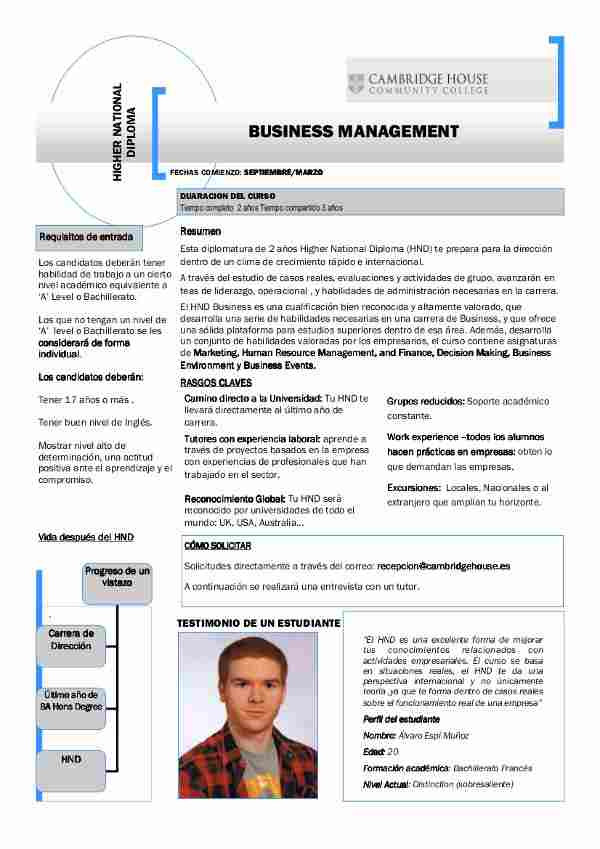 Business management, ade en inglés