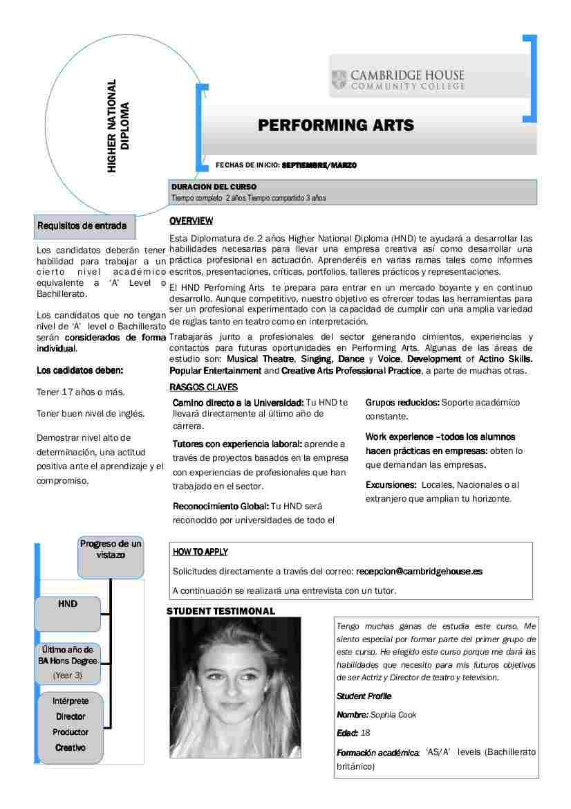 Performing Arts, Artes Escénicas en inglés